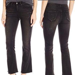 William Rast Flare Crop Raw Hem Black Jeans 31